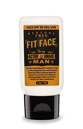 FIT FACE SPF 30 Face Moisturizer & Sunscreen | Full Spectrum UVA & UVB Protection | Oil Free | Natural Ingredients: Green Tea, Ginkgo Biloba, Ginseng, and Vitamin E | For all Skin Types | 2.5 oz