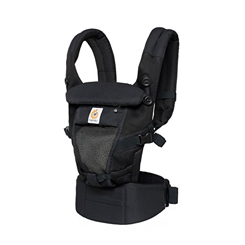 Ergobaby Adapt Cool Air Mesh Breathable Ergonomic Multi-Position Baby Carrier, Newborn to Toddler, Onyx - Onyx Black Hip