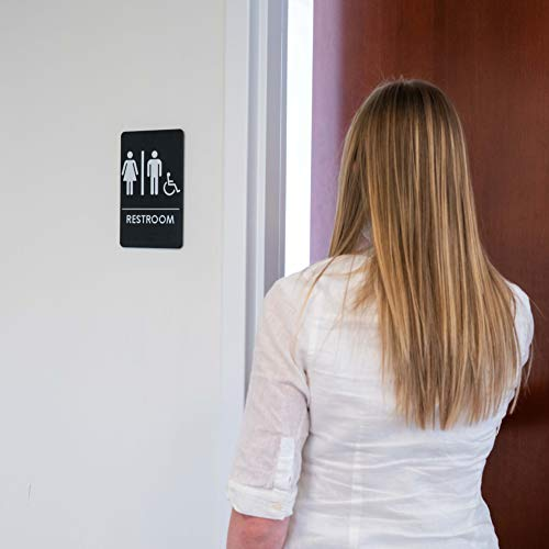 Men's and Women's Restroom Signs for Handicap Accessible Restroom, ADA-Compliant Bathroom Door Signs for Offices, by Rock Ridge (Image #6)