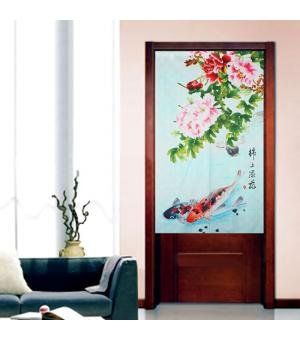 Yellow Traditional Chinese Style Double Leaping Fish Pattern Meaning of Success and Progress Door Curtain Japanese Noren Curtain Bedroom Curtain