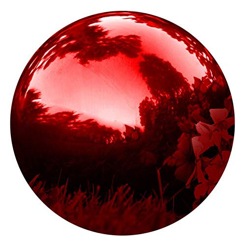 HomDSim 25 cm/10 inch Diameter Gazing Globe Mirror Ball,Red Stainless Steel Polished Reflective Smooth Garden Sphere,Colorful and Shiny Addition to Any Garden or Home