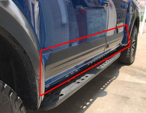 Rocker Panels For 2015-18 Ford F-150 Crew Cab 4PCS Flat Body Plastic Side Molding Protector