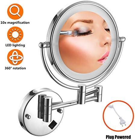 バニティミラーLED、シルバー化粧鏡壁掛け、バスルームのベッドのための8インチ両面360度スイベル拡張可能バニティミラー、プラグ,10x Magnification