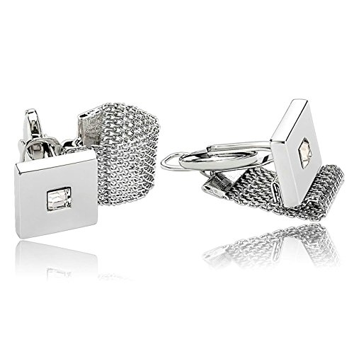 Aooaz Mens Cufflinks Square Chain Cubic Zirconia Stainless Steel Cufflinks Silver Cufflinks With Gift Box