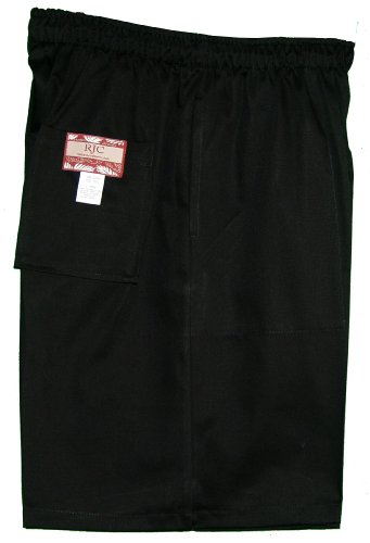 Men's Elastic Waistband 3 Pockets Cotton Twill Solid Shorts in Black - M
