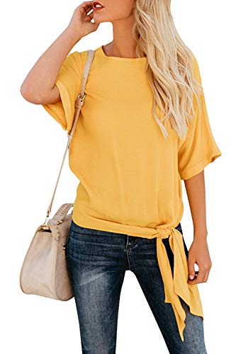 (OURS Women's Casual Knot Tie Front Half Sleeve Summer T Shirt Blouses Tops (Yellow, XXL))