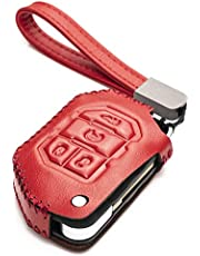 Vitodeco Genuine Leather Flip Key Fob Case Cover Protector with Leather Key Strap Compatible for 2018-2021 Jeep Wrangler