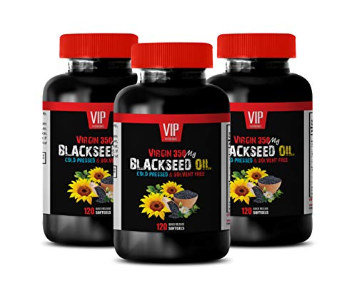 Anti inflammatory Supplement - Black Seed Oil Virgin 350 MG - Black Seed Oil for high Blood Pressure - 3 Bottles 360 Softgels
