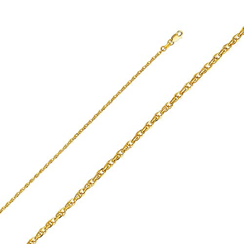 (Wellingsale 14k Yellow Gold 2mm Polished Double Link HOLLOW Rope Chain Necklace - 18