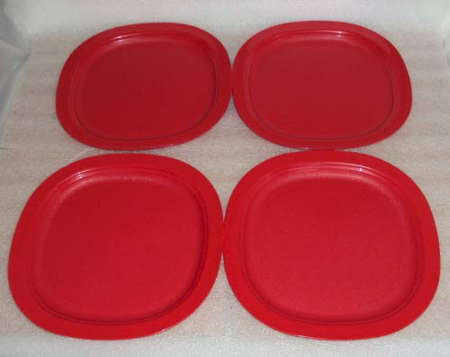 Tupperware Impressions Microwave 9 Inch Luncheon Plates Red