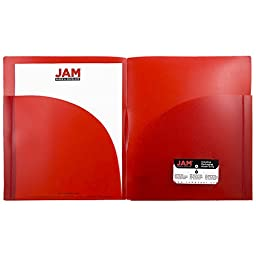 JAM Paper 2-Pocket Plastic Expansion Folders - Wide & High Capacity - Red - Pack of 6