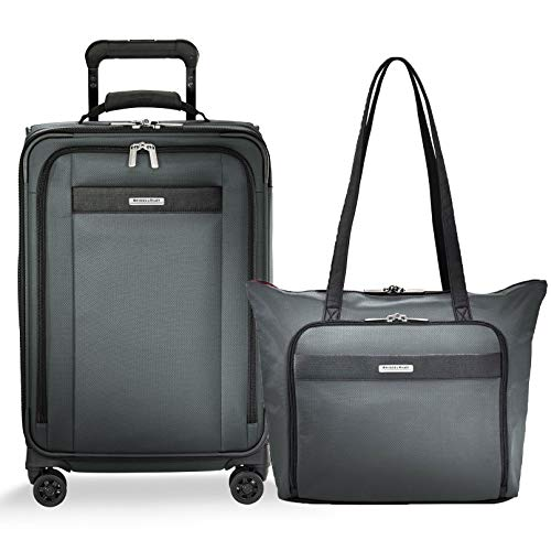 Briggs & Riley Transcend VX Expandable Tall Carry-On Spinner & Tote Set (Slate, One Size) -
