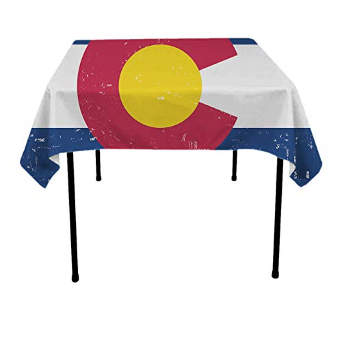 NiYoung Spillproof Indoor/Outdoor Elegance Tablecloths Colorado State Flag for Round/Square Table, Polyester Fabric Stylish Tabletop Decoration Great for Picnic Camping, 36 x 36 Inches ()