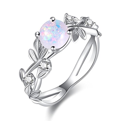 Lethez Clearance Oval Cut Fire Opal Rhinestone Band Ring New Exquisite Olive Leaf Engagement Wedding Jewelry (White, 7) ()
