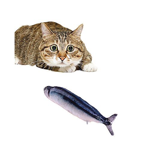 Pet Toys Catnip Chewtoy Plush Fish Pattern Interactive Pets Pillow for Cats Kittens (7.87 inch(without zipper), - Hide Never Noise