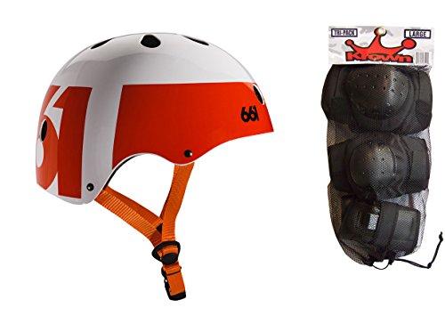 - 661 Dirt Lid Skate BMX Helmet White/Orange CPSC with Knee Elbow Wrist Pads Large
