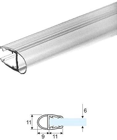 Junta para mampara de ducha 9 mm transparente con globo para cristal diámetro 6 mm-vendida por 2,20mt: Amazon.es: Bricolaje y herramientas