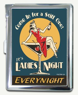 (Vintage Retro Tin Sign Ladies Night Cigarette Case Lighter Wallet Card Holder)