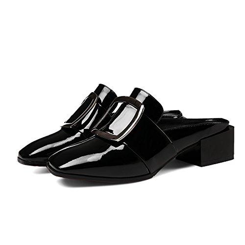 con parola sandali pantofole Lazy sandali Baotou black trascinare con Qingchunhuangtang w0EqTCq