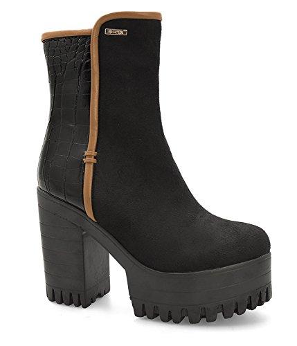 Alexoo scarpe da donna Stivaletti con rigo cuoio Berten - Nero-39 ... 56afa70af54