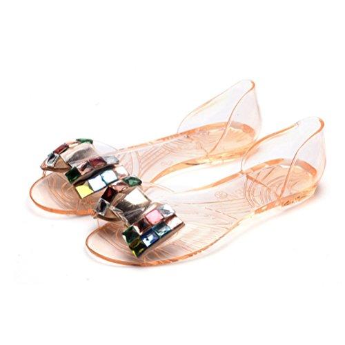 Slides Sandales Flop Peep JRenok Sandales Femme Shoes Flip Beach Toe Flats Crystal PVC Bowtie Transparent Champagne gelée Hdw1z