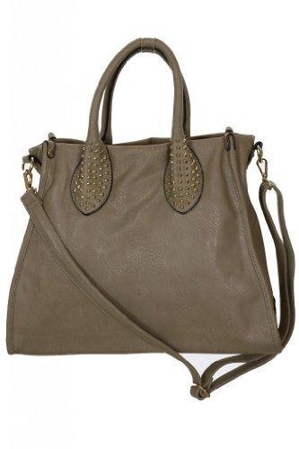 (2455-5) Leather Look Gold Stud Effect Shoulder Bag With Body Strap Dark Beige