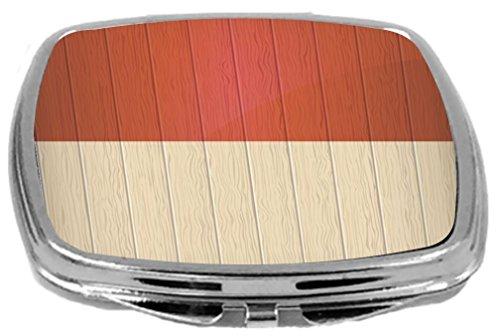 Rikki Knight Compact Mirror on Distressed Wood Design, Monaco Flag, 3 (Monaco Wood)
