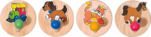 1 Stück - Garderobe - Garderobehaken - Kleiderhaken - für Kinder aus Holz - Eisenbahn Lokomotive Pferd / Kindergarderobe Kinder-Land 93041
