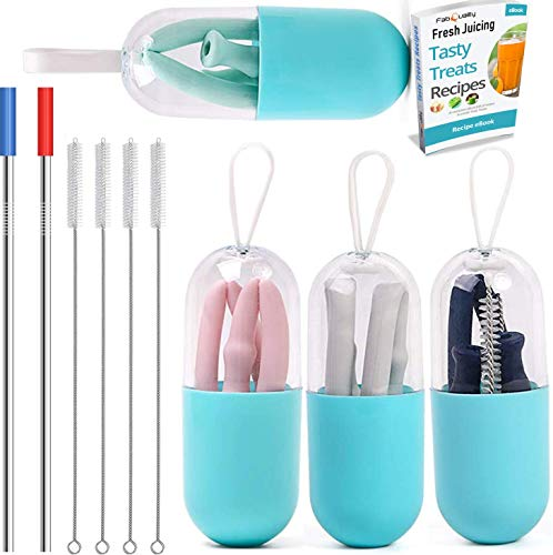 Clear Calendar Case Fold - 10 PCS SET, Collapsible Silicone Straws x4, brushes and carry case x4 with 2 stainless steel straw, Silicone Reusable Drinking Folding Straws with Cleaning Brushes Perfect for Travel, Home, eBook