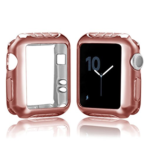 Price comparison product image Apple Watch Series 2 / 3 42mm Case,  Boofab iPhone Watch TPU Screen Protector All-around Protective 0.3mm HD Clear Ultra-thin Cover Case for iWatchSeries 2 / 3 42mm (E)