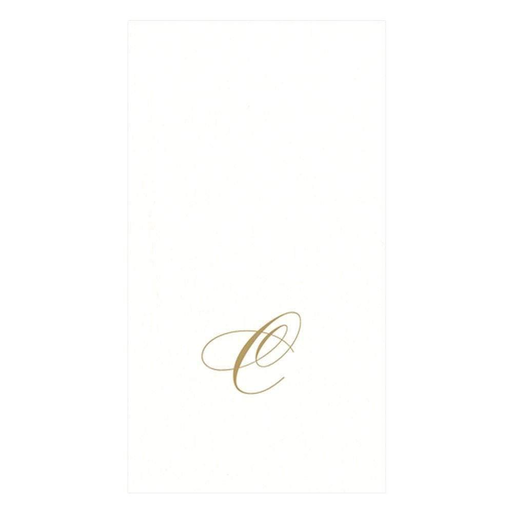 Caspari White Pearl & Gold Paper Linen Guest Towel Napkins in Letter C - Pack of 24 by Caspari