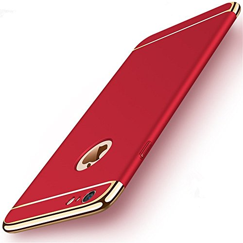 iPhone 6/6S Slim Case Anti-Scratch 360 Degree Protection 3 In 1 Hard Mobile Phone Ultra With Electroplate Frame For Full Protective For iPhone 6S Plus 6 Plus (iPhone 6/6S 4.7, Red)