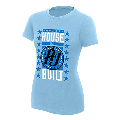 WWE AJ StylesThe House That AJ Built Women's Authentic T-Shirt Light Blue Medium by WWE Authentic Wear