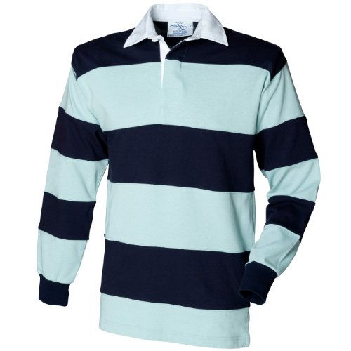 Front Row Sewn Stripe Long Sleeve Sports Rugby Polo Shirt (L) (Duck Egg/Navy)