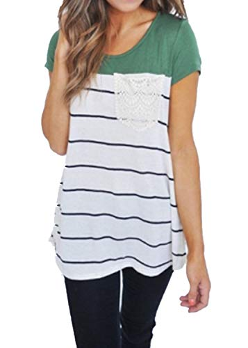 Jeanewpole1 Womens Short Sleeve Striped Tunic Tops Color Block Round Neck Raglan Baseball Tee Shirts Green Color Block Raglan Tee
