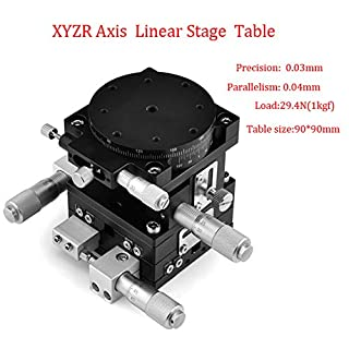 XYZR 4 Axis 3.54″x3.54″ Manual Linear Positioning Stage Bearing Tuning Platform Sliding Table 90mmx90mm