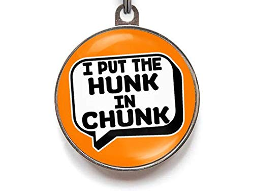 (Wag-A-Tude Tags I Put The Hunk in Chunk - Funny Pet ID Tag - Personalized Reverse - 36 Color Options (Large))