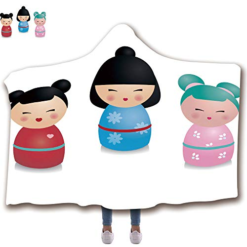 "3D Printed Hooded Blanket Fashion Thick Warm Flannel Throw Blanket Kids(51""H x 59""W) Blanket with Hoodie,Cute Kawaii Kokeshi Set Traditional Japanese Dolls in Realistic Style Stickers Design Elements"