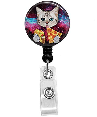Funny cat Badge Reel, Retractable Name Card Badge Holder with Alligator Clip, 24in Nylon Cord, Medical MD RN Nurse Badge ID, Badge Holder, Office Employee Name Badge
