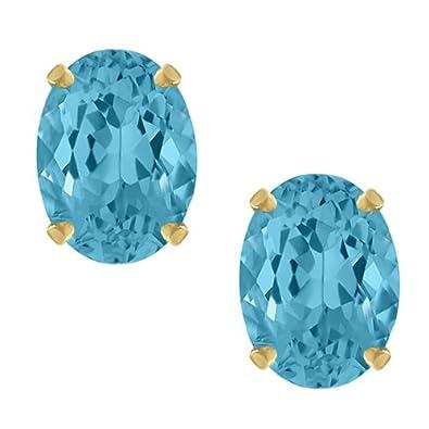 Gem Stone King 3.00 Ct Oval Cut Swiss Blue Topaz Stud Earrings 8X6MM
