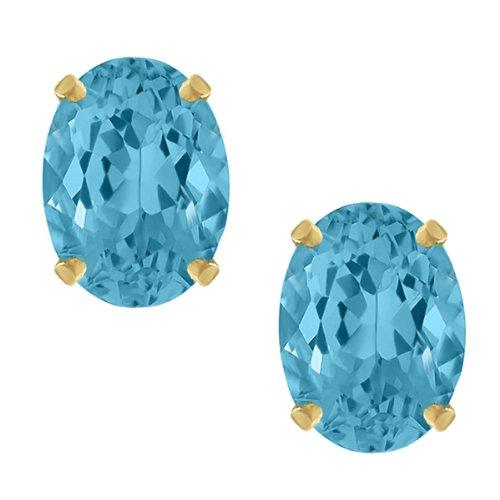 3.00 Ct Oval Cut Swiss Blue Topaz Stud Earrings 8X6MM