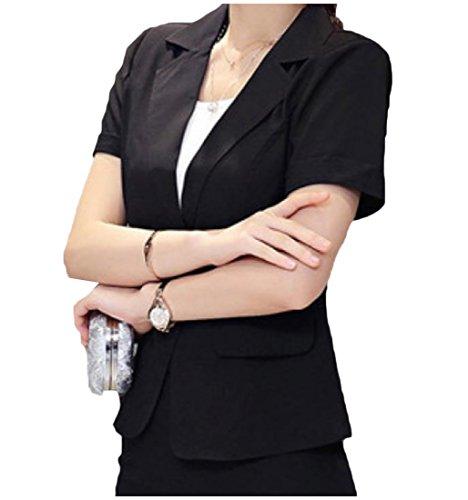 Comfy Women's Trim-Fit Short Sleeve OL Office Suit Jacket Blazer Black (Stretch Short Sleeve Blazer)