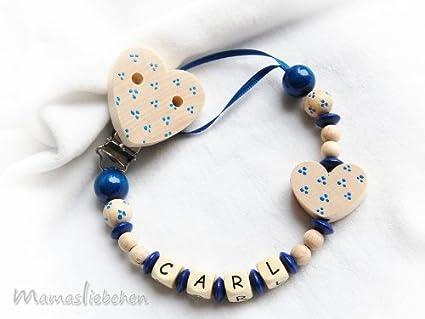 Mama liebchen Chupete Cadena nuckel Corazón Azul Bautizo con ...