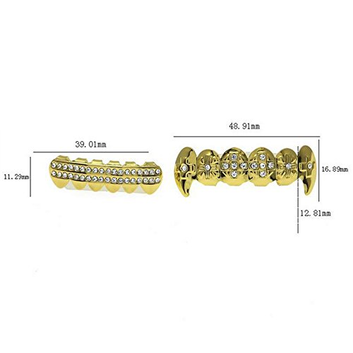 Gold Grillz Teeth Set Best gift for Son-New Custom Fit 14k Plated Gold Cruz Diamonds Grillz - Excellent Cut for All Types Of Teeth – Top and Bottom Grill Set - Hip Hop Bling Grillz by TSANLY (Image #4)