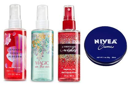 Bath and Body Works 3 Pack Travel Size Fine Fragrance Mist 3 Oz. Japanese Cherry Blossom, Magic in the Air and A Thousand Wishes. Travel Size Cream 1 Oz.