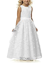 Line Wedding Pageant Lace Flower Girl Dress With Belt 2-12 Year Old