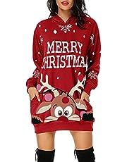 ICQOVD Christmas Hoodie for Women Funny Reindeer Santa Graphic Casual Crewneck Hooded Sweatshirt Long Sleeve Dress Tunic Tops