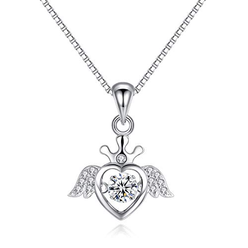 VANA JEWELRY Heart Necklace 925 Sterling Silver Women Necklaces Jewelry Gift for Mother's Day CZ Diamond Dancing Love Open Heart Triangle Angle Wing Queen Crown Girls Anniversary (Angle-silver) ()
