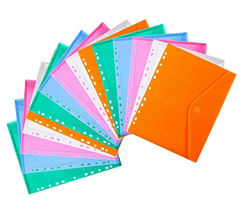 LaOficina 11 Holes Semi Poly Envelope Pocket Insert Pages for Binders, with Hook and Loop Closure Assorted Colors, A4 Size 25 Packs