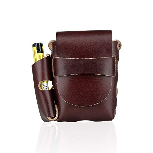 Handmade Genuine Leather Cigarette BOX Case With lighter Holder Pouch Waist Pack (For King Size& 100's) ()